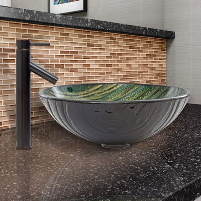 Green Asteroid Glass Circular Vessel Bathroom Sink