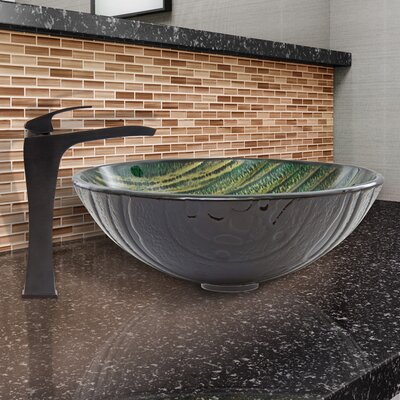 Green Asteroid Glass Circular Vessel Bathroom Sink