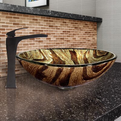 Zebra Glass Circular Vessel Bathroom Sink with Faucet