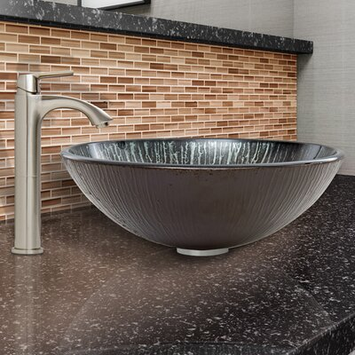 Enchanted Earth Glass Vessel Bathroom Sink and Linus Vessel Faucet with Pop Up