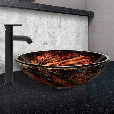 Northern Lights Glass Circular Vessel Bathroom Sink