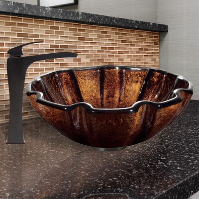 Walnut Shell Glass Circular Vessel Bathroom Sink
