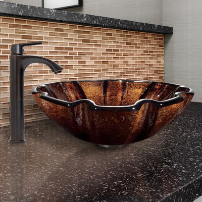 Walnut Shell Glass Circular Vessel Bathroom Sink with Faucet