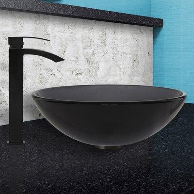 Sheer Black Glass Circular Vessel Bathroom Sink