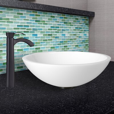 Flat Edged White Phoenix Stone Circular Vessel Bathroom Sink
