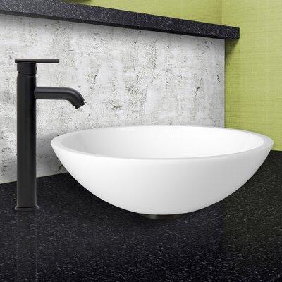 Flat Edged White Phoenix Stone Circular Vessel Bathroom Sink