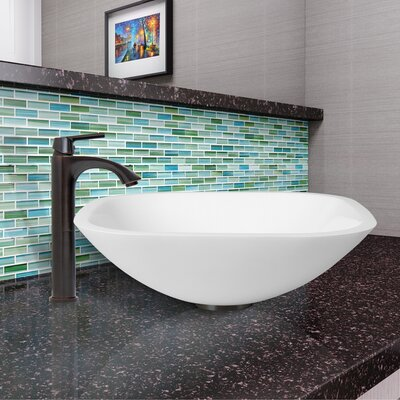 White Phoenix Stone Square Vessel Bathroom Sink
