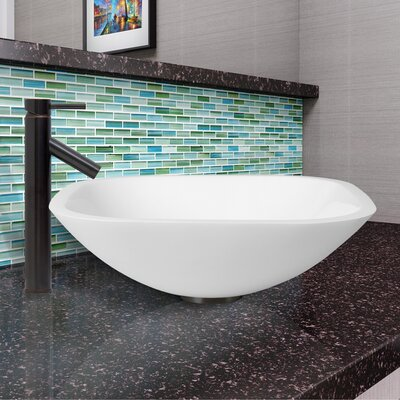 Phoenix Glass Square Vessel Bathroom Sink with Faucet