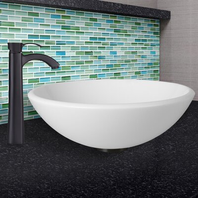 Phoenix Stone Circular Vessel Bathroom Sink with Faucet