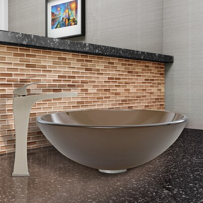 Sheer Sepia Frost Glass Circular Vessel Bathroom Sink Sink Finish: Sheer Sepia