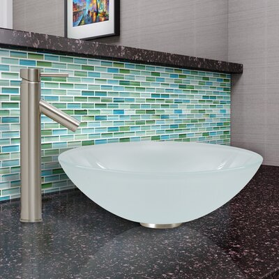 Sheer Black Glass Circular Vessel Bathroom Sink Sink Finish: White Frost