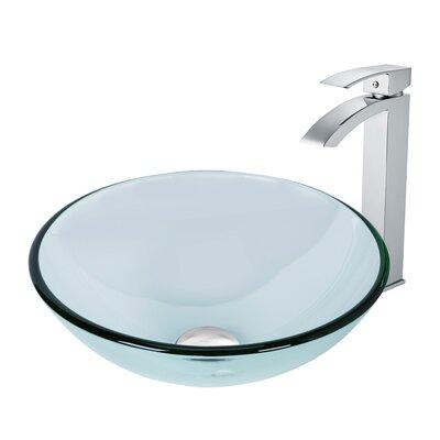 Crystalline Glass Circular Vessel Bathroom Sink Faucet Finish: Chrome