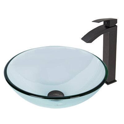 Crystalline Glass Circular Vessel Bathroom Sink Faucet Finish: Matte Black