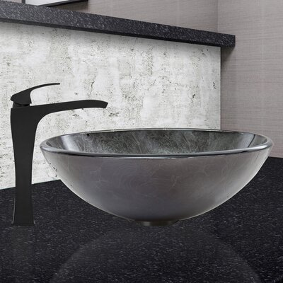 Gray Onyx Glass Circular Vessel Bathroom Sink