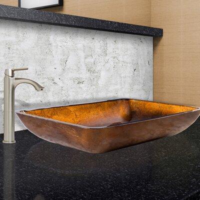 Russet Glass Rectangular Vessel Bathroom Sink Faucet Finish: Brushed Nickel