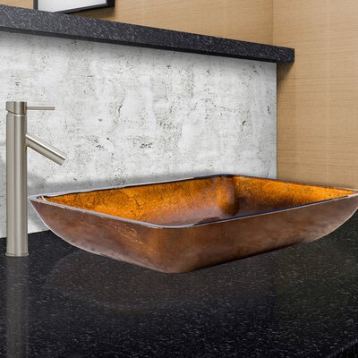 Russet Glass Rectangular Vessel Bathroom Sink Faucet Finish: Brushed Nickel