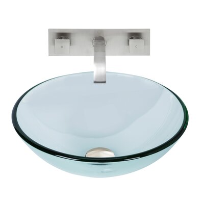 Crystalline Glass Circular Vessel Bathroom Sink Faucet Finish: Brushed Nickel