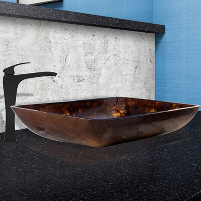 Brown and Gold Fusion Glass Rectangular Vessel Bathroom Sink