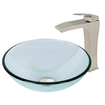 Crystalline Glass Circular Vessel Bathroom Sink with Faucet