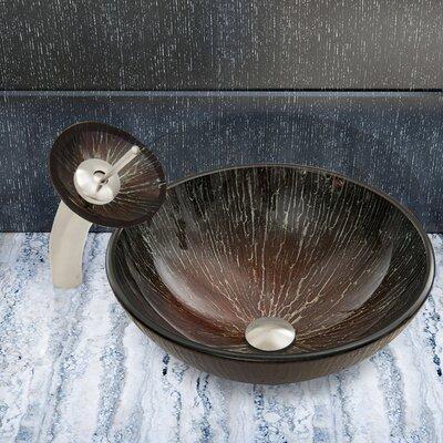 Enchanted Earth Glass Circular Vessel Bathroom Sink Faucet Finish: Brushed Nickel