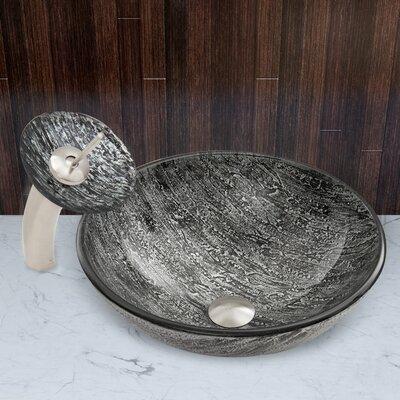 Titanium Glass Circular Vessel Bathroom Sink Faucet Finish: Brushed Nickel