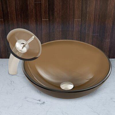 Sheer Sepia Glass Circular Vessel Bathroom Sink Faucet Finish: Brushed Nickel