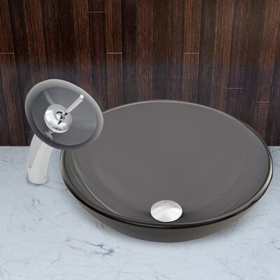 Sheer Black Frost Glass Circular Vessel Bathroom Sink Faucet Finish: Chrome