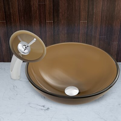 Sheer Sepia Frost Glass Circular Vessel Bathroom Sink Faucet Finish: Chrome