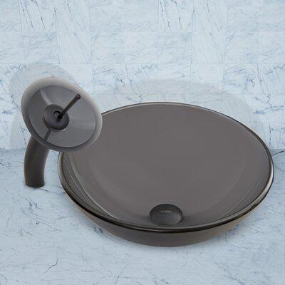 Sheer Black Frost Glass Circular Vessel Bathroom Sink Faucet Finish: Matte Black