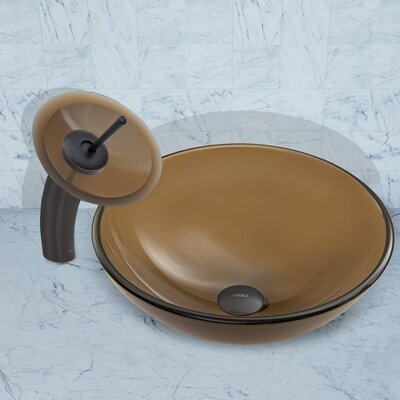 Sheer Sepia Frost Glass Circular Vessel Bathroom Sink Faucet Finish: Antique Rubbed Bronze