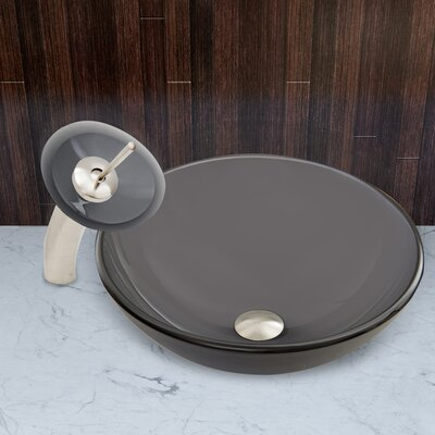 Sheer Black Frost Glass Circular Vessel Bathroom Sink Faucet Finish: Brushed Nickel