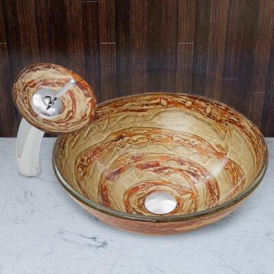 Mocha Swirl Glass Circular Vessel Bathroom Sink Faucet Finish: Chrome