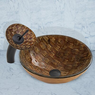 Playa Glass Circular Vessel Bathroom Sink Faucet Finish: Matte Black