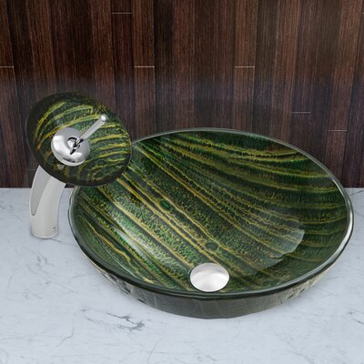 Green Asteroid Glass Circular Vessel Bathroom Sink Faucet Finish: Chrome