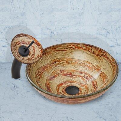 Mocha Swirl Glass Circular Vessel Bathroom Sink Faucet Finish: Matte Black