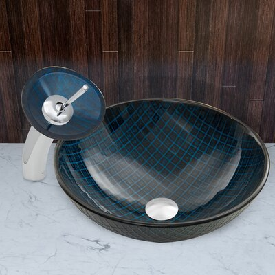 Blue Matrix Glass Circular Vessel Bathroom Sink Faucet Finish: Chrome