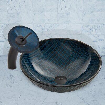 Blue Matrix Glass Circular Vessel Bathroom Sink Faucet Finish: Matte Black