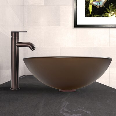 Sheer Sepia Frost Glass Circular Vessel Bathroom Sink Sink Finish: Sepia, Faucet Finish: Oil Rubbed Bronze