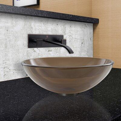 Sheer Sepia Frost Glass Circular Vessel Bathroom Sink