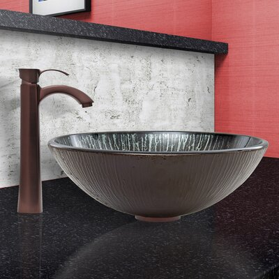 Enchanted Earth Glass Circular Vessel Bathroom Sink
