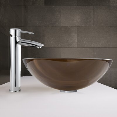 Sheer Sepia Frost Glass Circular Vessel Bathroom Sink