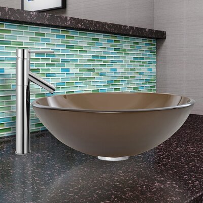 Sheer Frost Glass Circular Vessel Bathroom Sink