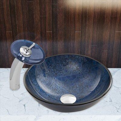 Indigo Esclipse Glass Circular Vessel Bathroom Sink Faucet Finish: Chrome