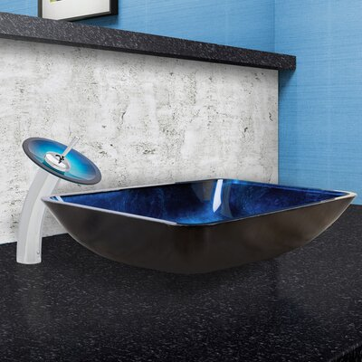 Turquoise Water Glass Rectangular Vessel Bathroom Sink Faucet Finish: Chrome