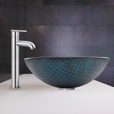 Blue Matrix Glass Circular Vessel Bathroom Sink