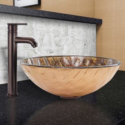 Playa Glass Circular Vessel Bathroom Sink Sink Finish: Playa, Faucet Finish: Oil Rubbed Bronze