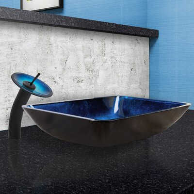 Turquoise Water Glass Rectangular Vessel Bathroom Sink with Faucet Faucet Finish: Matte Black