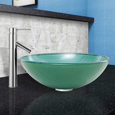 Whispering Wind Glass Circular Vessel Bathroom Sink