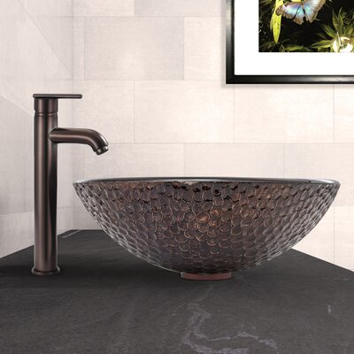 Shield Glass Circular Vessel Bathroom Sink with Faucet