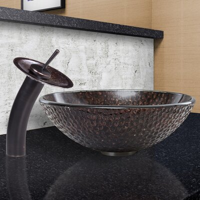 Copper Shield Glass Circular Vessel Bathroom Sink Faucet Finish: Antique Rubbed Bronze